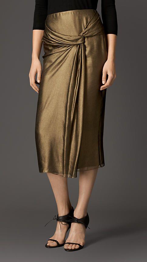 Lamé Silk Drape Detail Skirt   Burberry