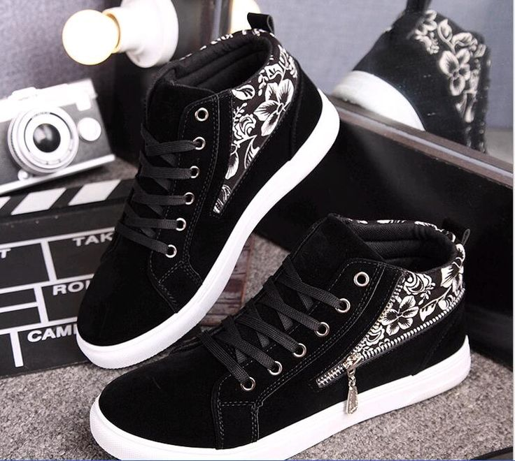 Qiu dong with merchant men's fashion men's shoes blue and white camouflage zipper male fashion casual shoes