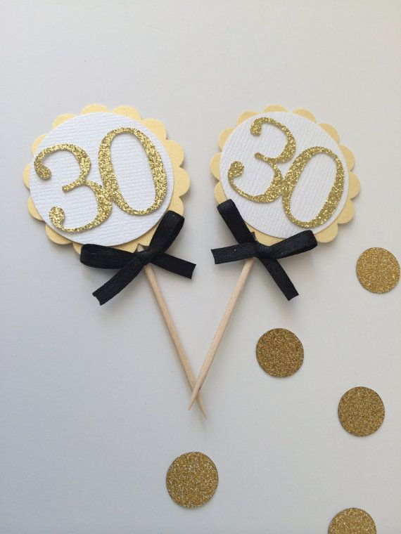 20 GOLD Cupcake Toppers with Number Cutout and Black Bow. Birthday Celebration, …