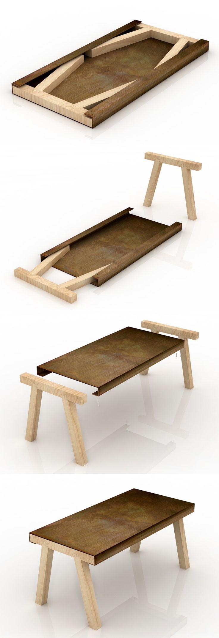 Wat een wow-tafel. Compact en zeer handig. Je zou hem niet-uitgevouwen aan de muur kunnen hangen als piece-of-art
