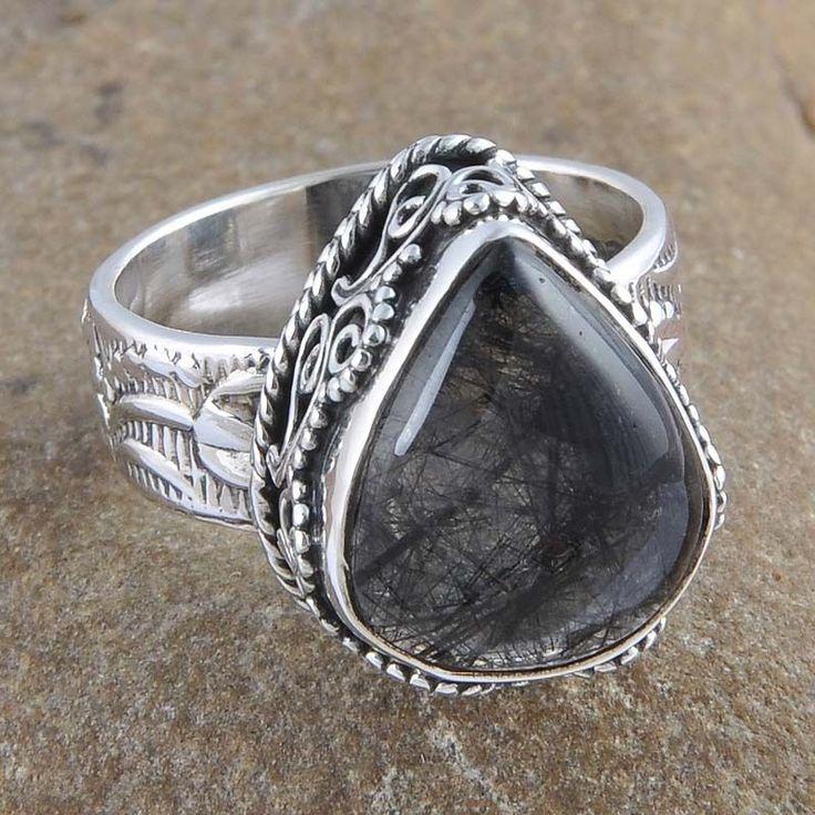 925 SOLID STERLING SILVER 9.13g BLACK RUTILE GEMSTONE FANCY RING R0960 #Handmade #Ring