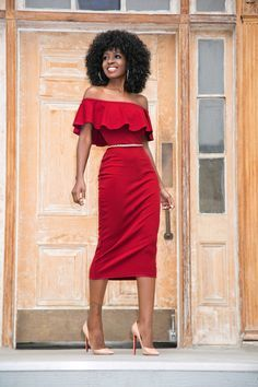 Style Pantry   Frill Off Shoulder Midi Dress