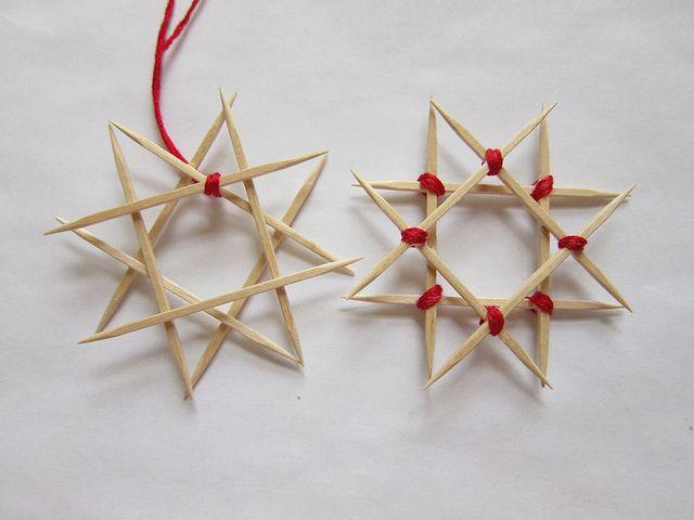Use toothpicks to make a star ornament!