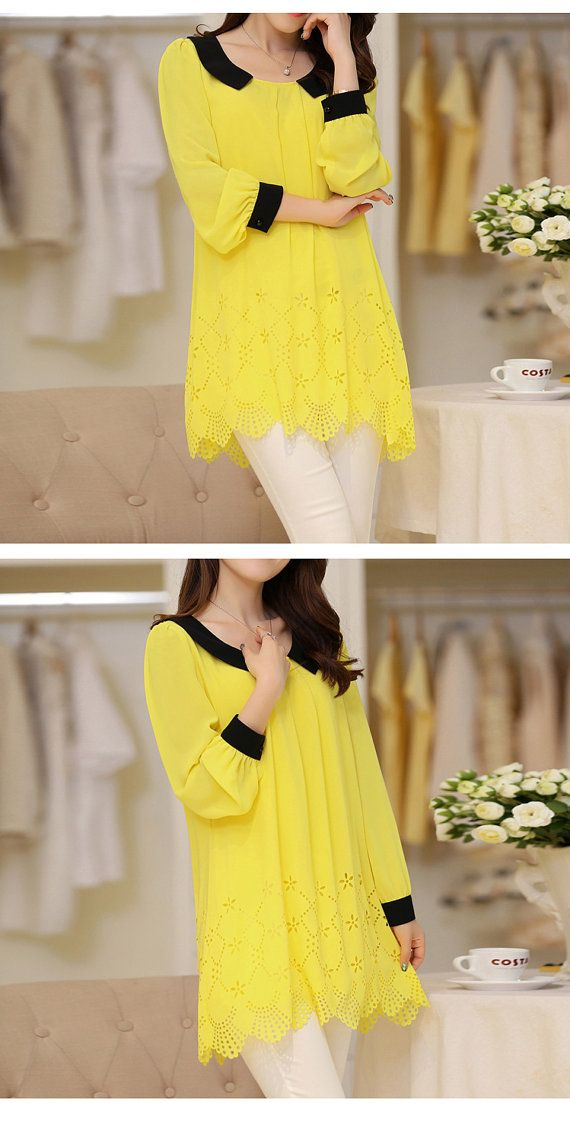 Hollow Out Chiffon Dress Doll Collar Loose Dress Spring Autumn Dress Spring Autumn Clothing Plus Size Dress Plus Size Clothing Plus Tops