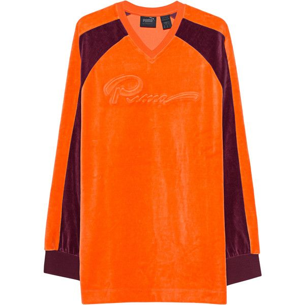 Fenty x Puma by Rihanna Velour Oversized Orange // Oversized velvet... ($200) ❤ liked on Polyvore featuring tops, hoodies, sweatshirts, velour sweatshirt, color-blocked sweatshirt, colourblock sweatshirt, orange top and puma sweatshirt