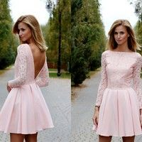 Pink lace Homecoming Dress, Sexy Mini Long Sleeves Party Dress, Deep V back backless Club Dresses from Upromdress