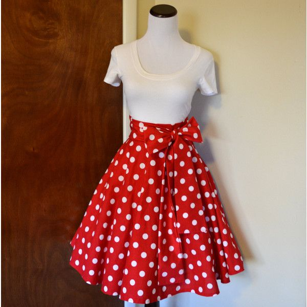 30-39 Waist Minnie Mouse Inspired Red and White Polka Dot Circle Skirt... ($38) ❤ liked on Polyvore