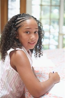 Possible style for baby Alanys's hair but maybe a braid headband between cornrows and curls..kinda like in the movie love and basketball