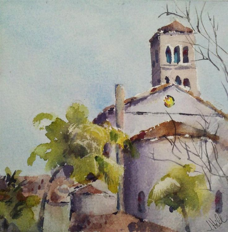 """""""A Peak of St. Andrews"""" by Julie Hill (6"""" x 6""""): Watercolor Art, Fine Art, St Andrews, Julie Hill"""