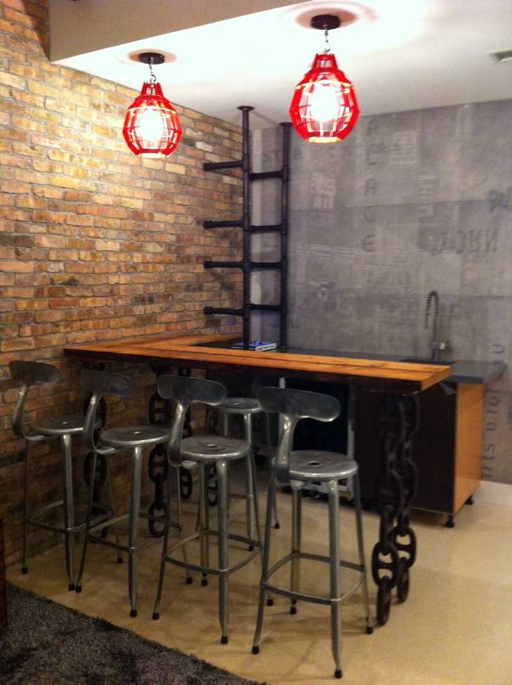Industrial bars bar designs and industrial on pinterest - Designing a basement bar ...