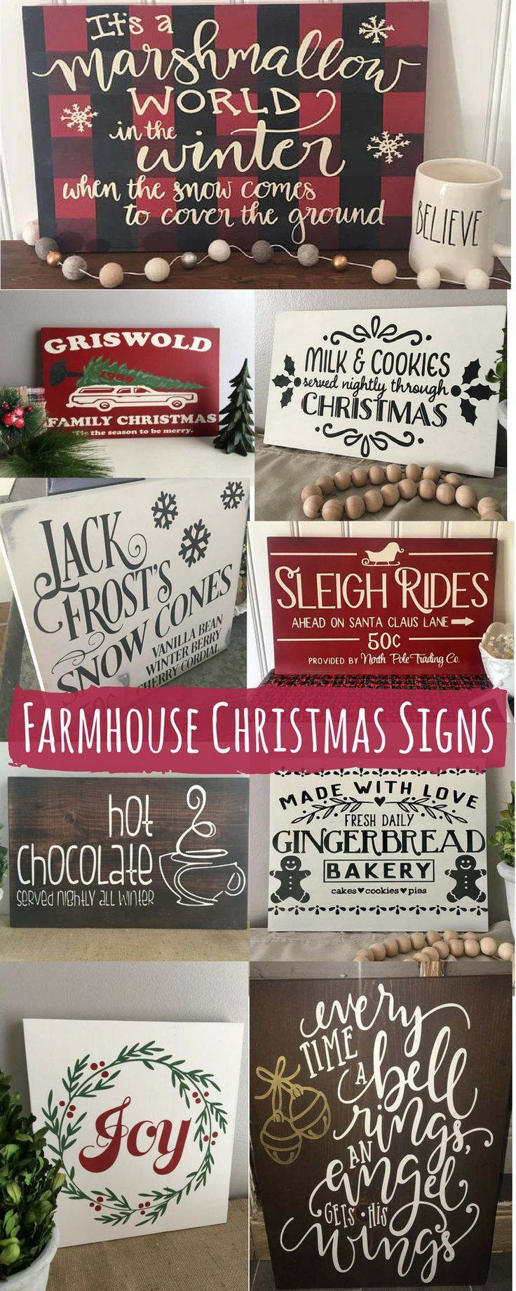 I NEED these signs in my life! I love having Christmas signs on my mantle. These are some of my favorite that I have found! #commissionlink #Christmas #Christmasdecor #Christmastime #winter #homedecor #homedesign #homedecoration #homedecorideas #homesweethome #homestyle #country #farmhouse #farmhousestyle #farmhousedecor #rusticdecor