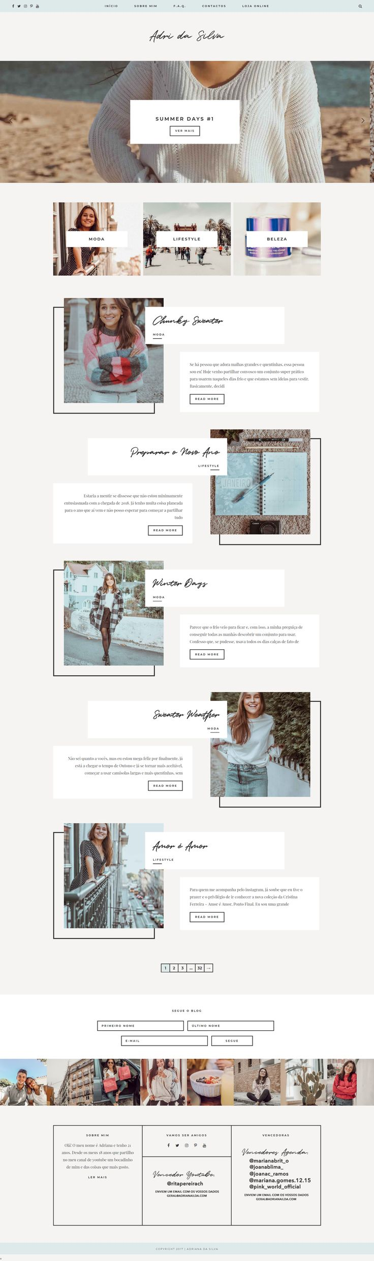 Perfect for use as a travel, lifestyle, or fashion blog, Oceanoid is the best premium WordPress theme for bloggers; easy to customize, a unique layout that will take your blog to the next level, and lots of styling options. Adri da Silva is an amazing blogger and her new site on Creative Summer Studio's Oceanoid WordPress theme is so dreamy. wordpress theme wordpress design blog layout web design layout minimal layout minimal web design blog design