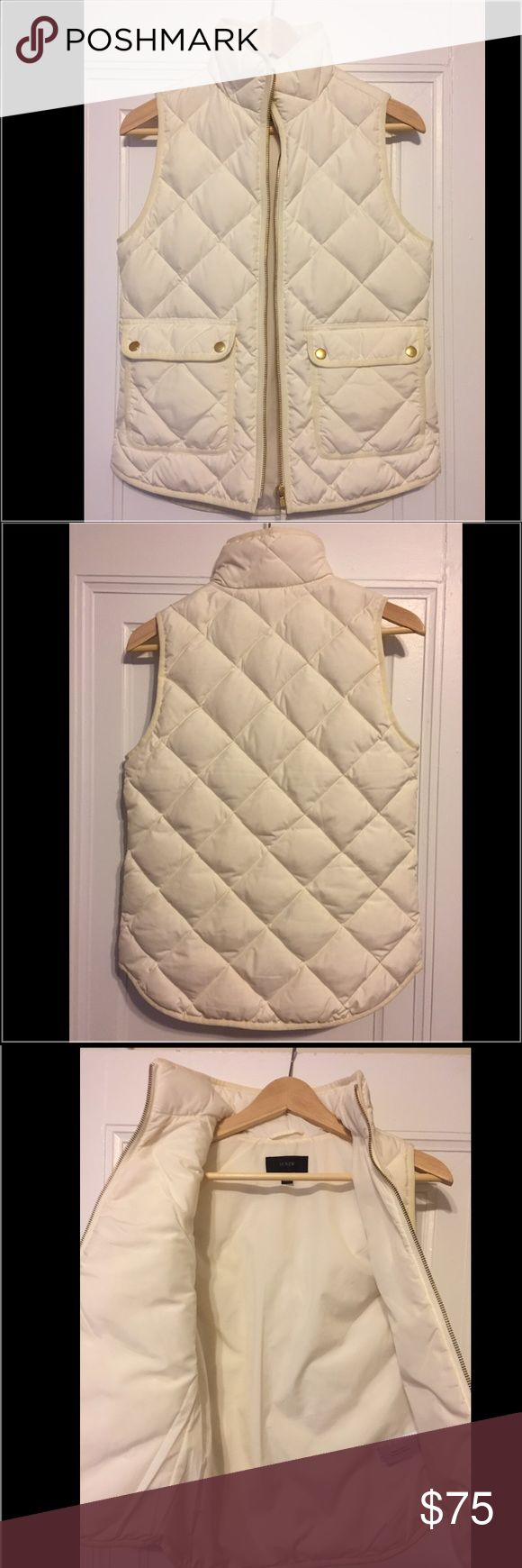"""J. Crew Excursion Quilted Down Vest This is a gorgeous vest, but it sadly does not work well with my complexion. Only worn once. Please note that J. Crew vests run big- I am usually a size 0 or XS (5'5"""", 120 lbs), but this fit perfectly in an XXS.     From J. Crew:   Our customer-favorite down vest that's slim and lightweight, but still warm enough to keep chilly weather at bay--now in new, perfect-for-fall colors to choose from.  Down-filled poly.  Standing collar.  Zip closure.  Pockets…"""