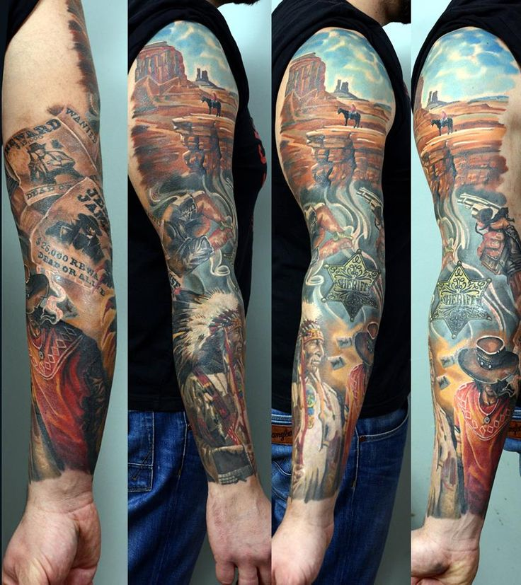 Cowboys and indians sleeve tattoo