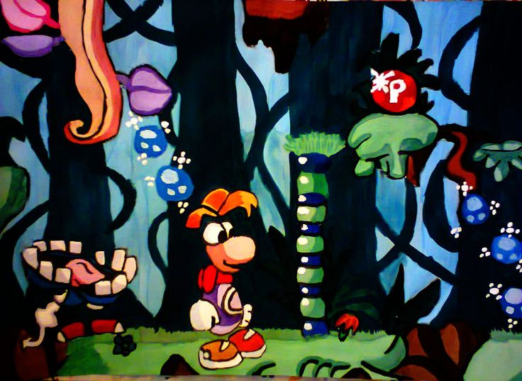 An Unforgettable Hero (first attempt of holding a brush in my hand in 10 years); Size: A4; Technic: watercolour; Game: Rayman (Ubisoft, 1995)