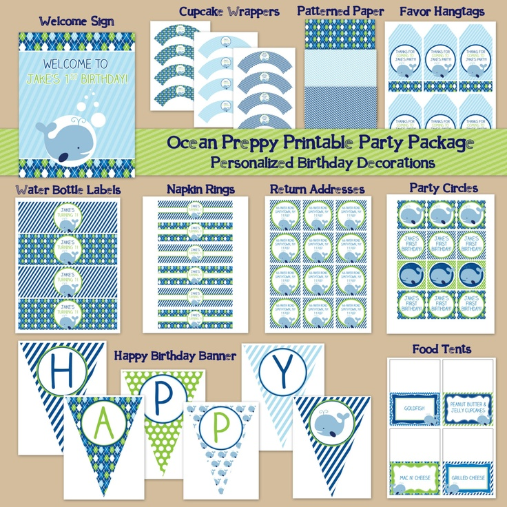 Whale Theme Printable Party Package - Digital Printable File - Printable Birthday Party Ocean - Preppy Boy's First Birthday. $35.00, via Etsy.