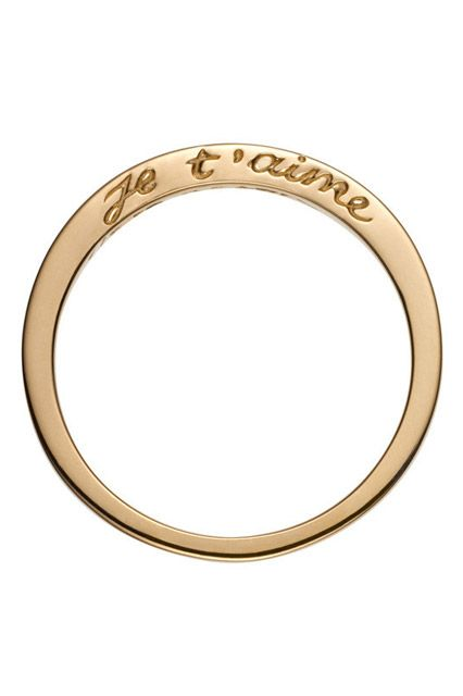 "40 AWESOME Wedding Bands To Fit Your Style #refinery29  http://www.refinery29.com/cool-wedding-bands#slide-2  ""Je t'aime"" is engraved on one side of this ring — a reminder of the sentiment that put it on your finger."