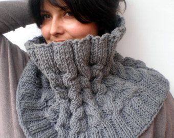 Fashion Warm Brown Set Cowl and Slouky hat Hand by GiuliaKnit