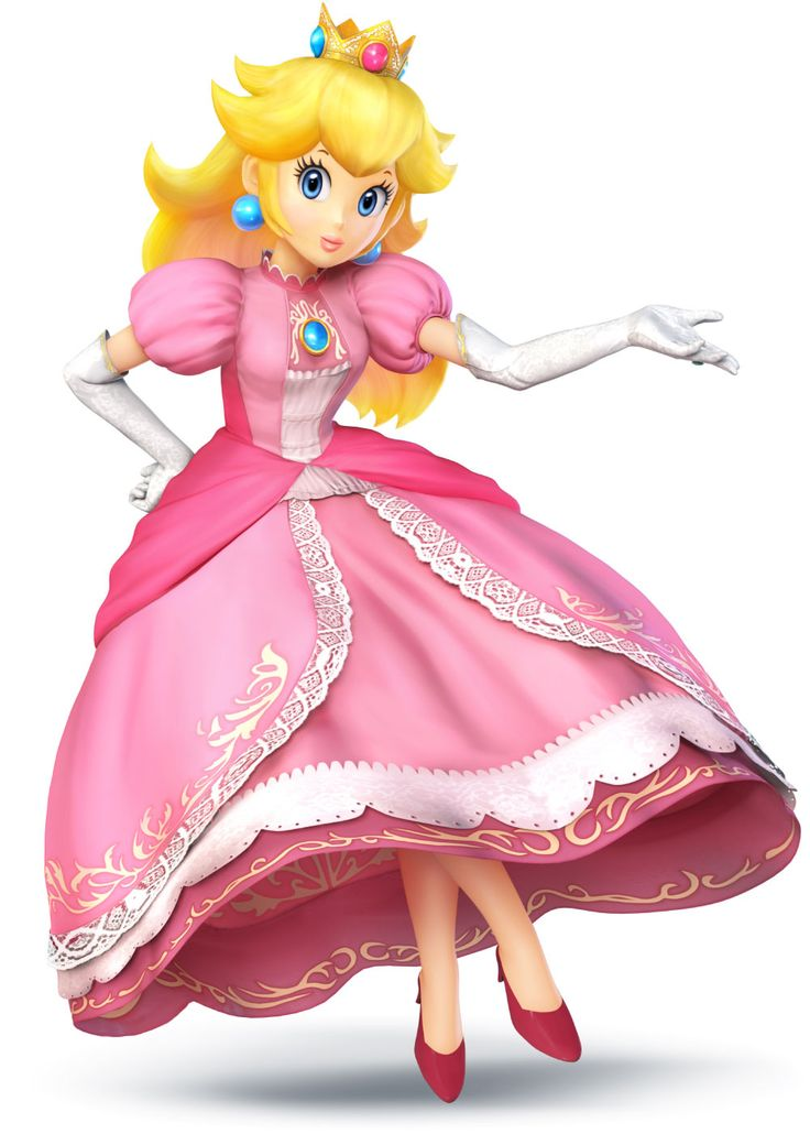 Super Smash Bros. for 3DS and Wii U Princess Peach | Nintendo- I liked how she looked in Brawl. This version is just too bright, in my opinion. However, I do see a similarity to Melee's Peach.