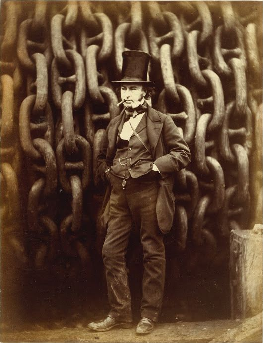 Isambard Kingdom Brunel Standing Before the Launching Chains of the Great Eas...