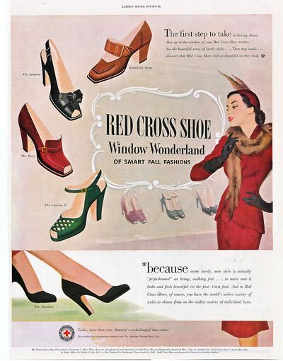 I adore both the shoes and the posh gal's stylish outfit in this wonderful vintage ad.