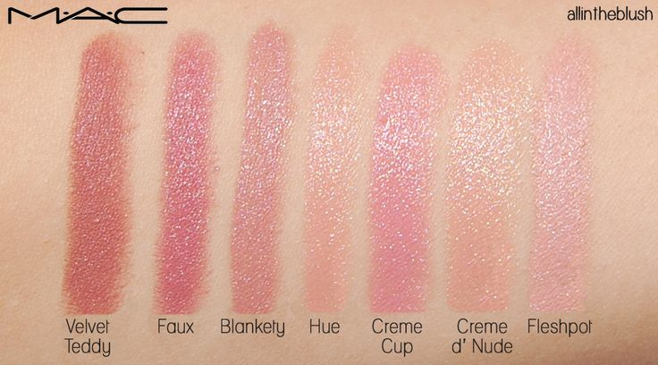 MAC Nude Lipstick Swatches & Review. Velvet Teddy, Faux, Blankety, Hue, Creme Cup, Creme d' Nude, & Fleshpot Swatches.