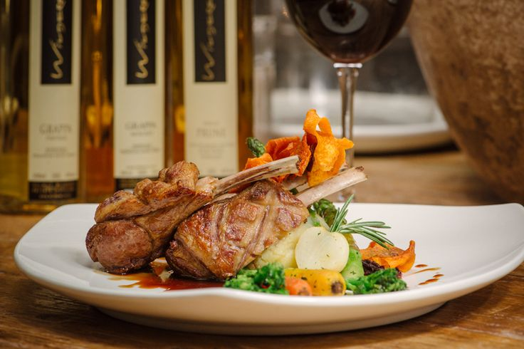 #HoutBayManorMenu Lamb Rack ~ French trimmed lamb rack served with truffle mash and mint baby vegetables.