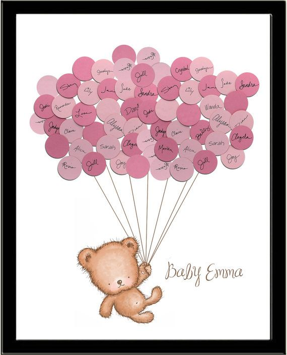 Baby Shower Ideas Teddy Bear Guestbook Print – Girl