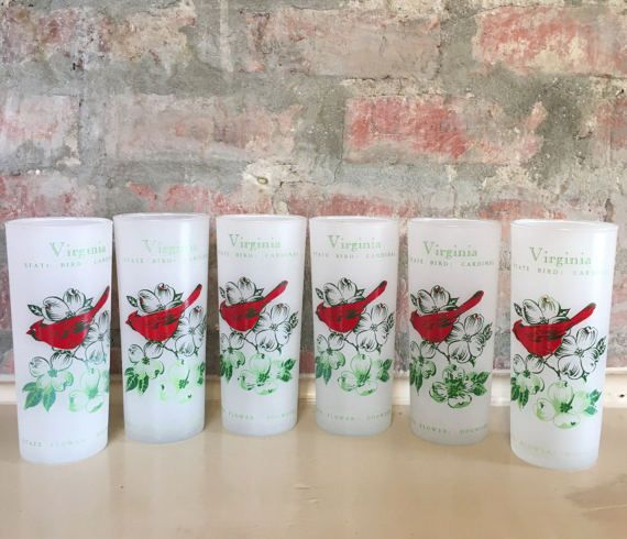 Anchor Hocking Virginia State Collins Glasses // 1950's //