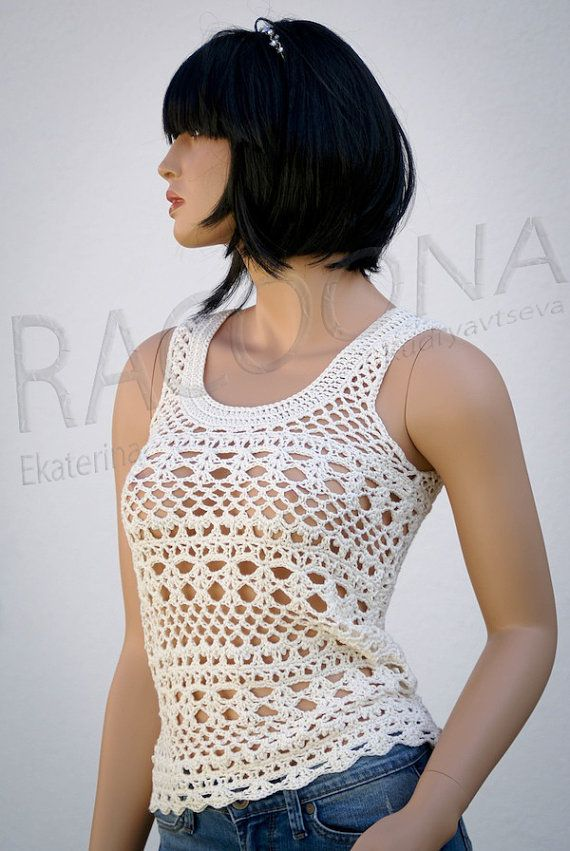 Ivory white crochet patterned women lace summer cotton tank top