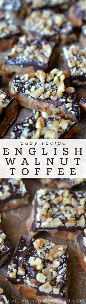 English Walnut Toffee ~ there's nothing quite like making your own candy, and this crisp nutty English toffee is one of the best things I've ever eaten ~ make it for friends and family, but definitely make extra to squirrel away for yourself! #candy #toffee #chocolate #caramel #holidayfoodgift #dessert #walnuts #nutbrittle #Christmas #Christmascandy