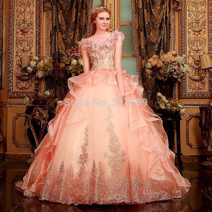 42 Best Renaissance Wedding Dress Images On Pinterest: Luxury Rhinestone Beading Light Pink Ruffle Medieval Dress