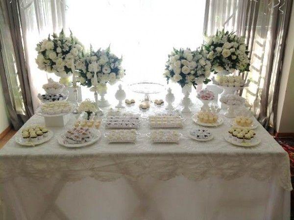 mesa decorada batizado classico