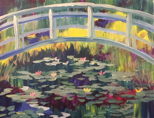 Impressionist Monet Bridge Over Lilies approved by Paint Nite