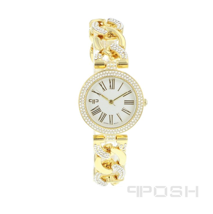 Meredith - Watch - Gold Tone.  - Elegant roman numeral face design - Plated in a gorgeous gold tone - Face features exclusive POSH design - Bracelet and full casing made in stainless steel - Embellished with sparkling clear stones - Water resistant up to 5 ATM - Extra links available - Japanese movement.  Dimensions Face: 20mm diameter.   POSH by FERI - Passion for Fashion - Luxury fashion jewelry for the designer in you.   #Jewellery   #watches