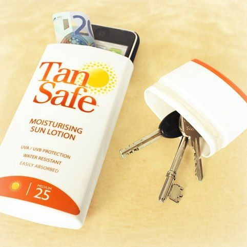 TanSafe. Has sunblock in the top but has a hidden compartment in the bottom for phones, wallets, keys, or anything else you want to hide at the beach.
