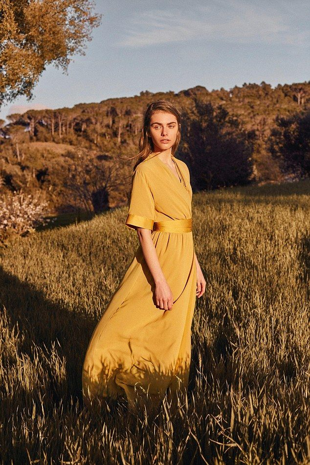 Other pieces in the collection include a canary yellow occasion dress (pictured) and a dou...