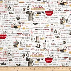 Kiss The Cook Recipes White from @fabricdotcom  Designed by Mary Lake-Thompson, Ltd. For Robert Kaufman, this cotton print features a cooking and kitchen motif.  Perfect for quilting, apparel and home décor accents.  Colors include white, grey, black, shades of red and shades of yellow.