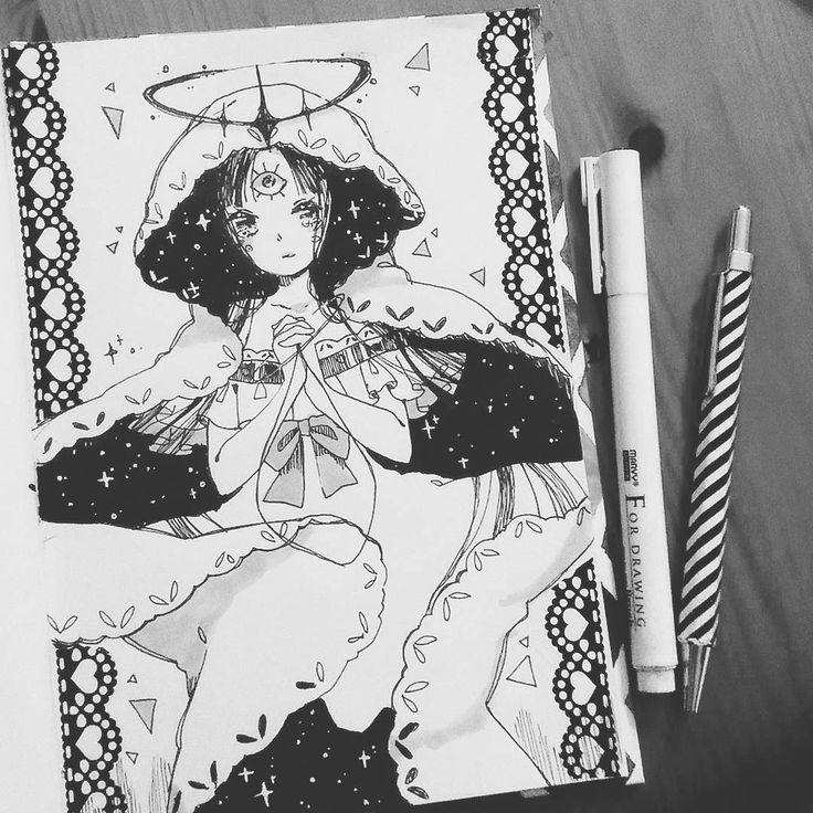6. #inktober Oracle Today was a great day with @rozenberry! She is an adorable person, I'm happy to be with her (灬˘╰╯˘灬) #inktober2017 #31witches