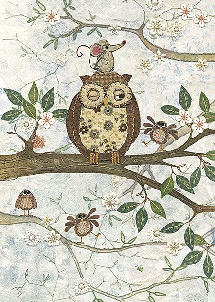 BugArt ~ Owl and Mouse. Amy's Cards *NEW* Original embroideries by Amy Butcher. Cards designed by Jane Crowther.