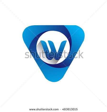 Logo letter W blue colored in the triangle shape, Vector design template…