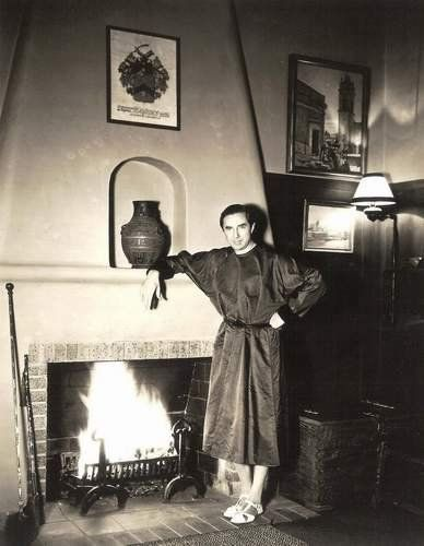 Horror star great Bela Lugosi at home. Dig those shoes 'Dracula' is wearing.