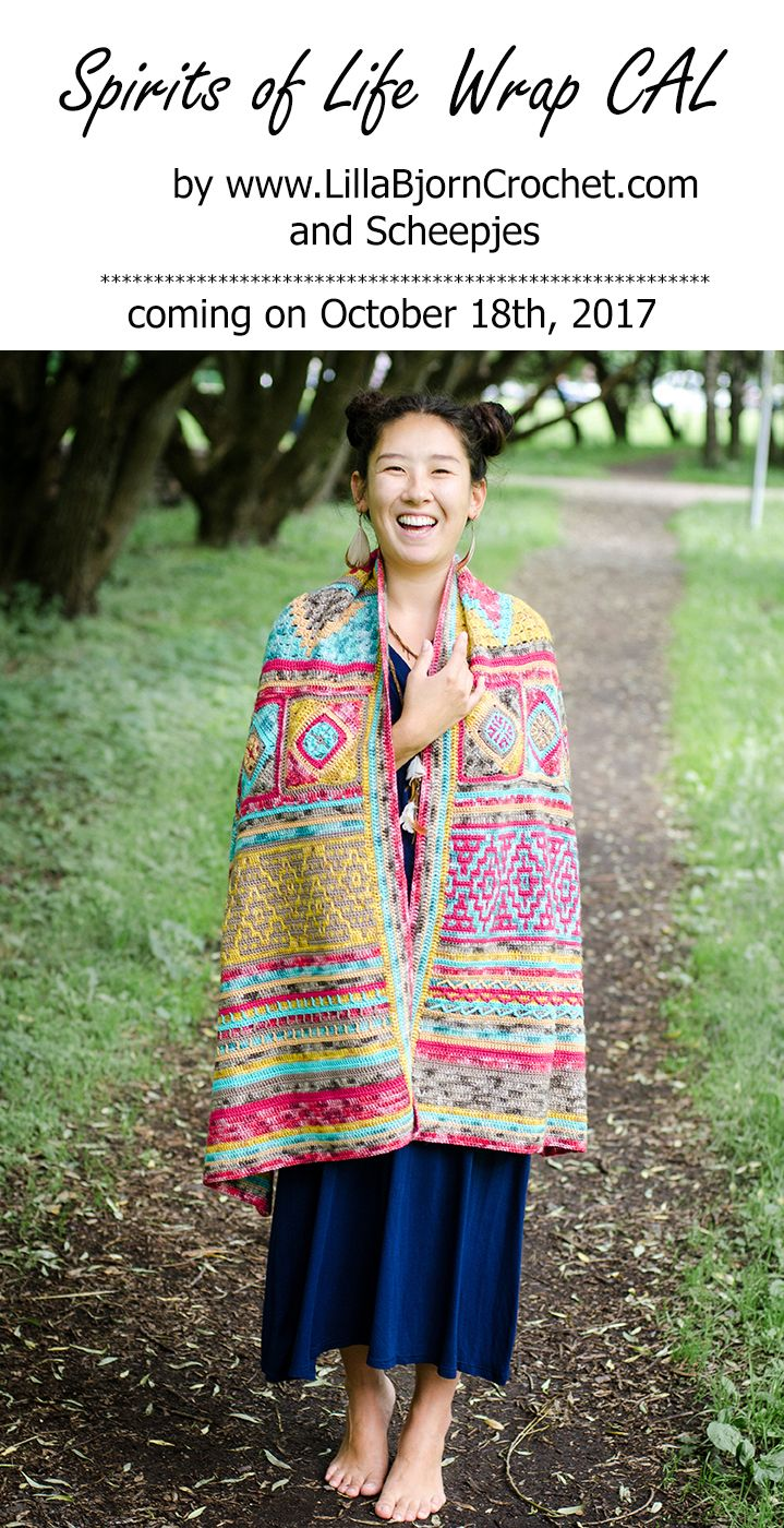 Spirits of Life CAL (crochet-a-long) is about large rectangle wrap inspired by Native American fibre and textile art. The CAL will start on October 18th, 2017. The pattern will be free and published on my blog www.lillabjorncrochet.com