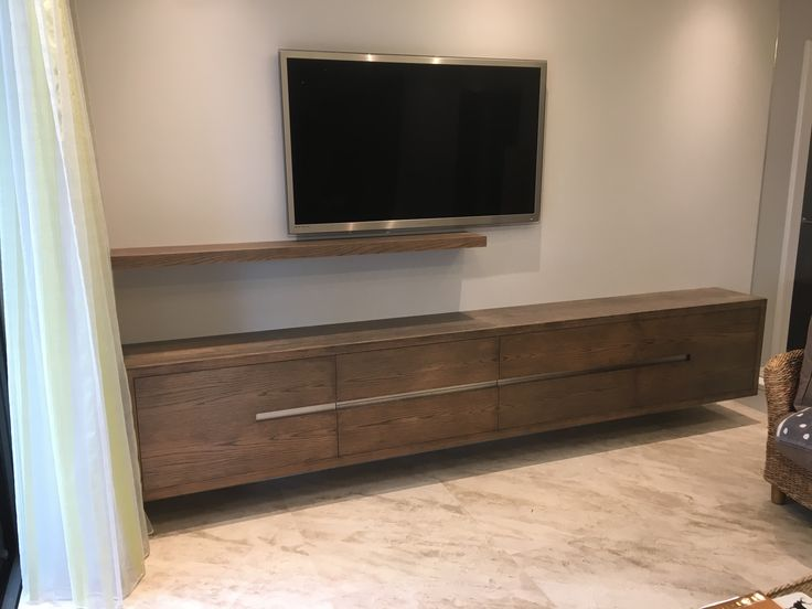 Stained oak media unit