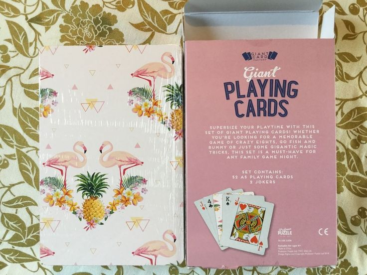 """Giant Card Factory Jumbo Playing Cards Sealed 8.25""""x5.25"""" Flamingos & Pineapples #GiantCardFactoryProfessorPuzzle"""