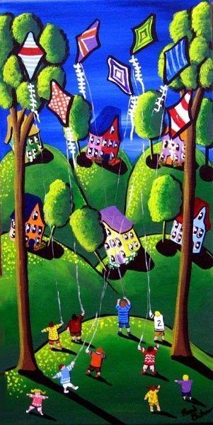 KIDS FLYING KITES GREEN FUN Folk Art Painting Original. $79.99, via Etsy.