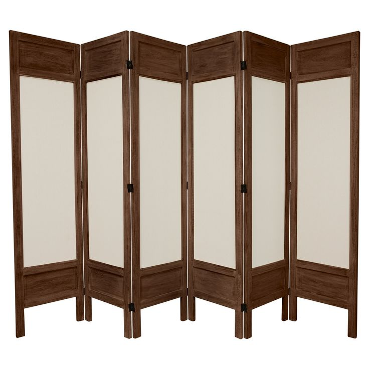 tall solid frame fabric room divider burnt brown