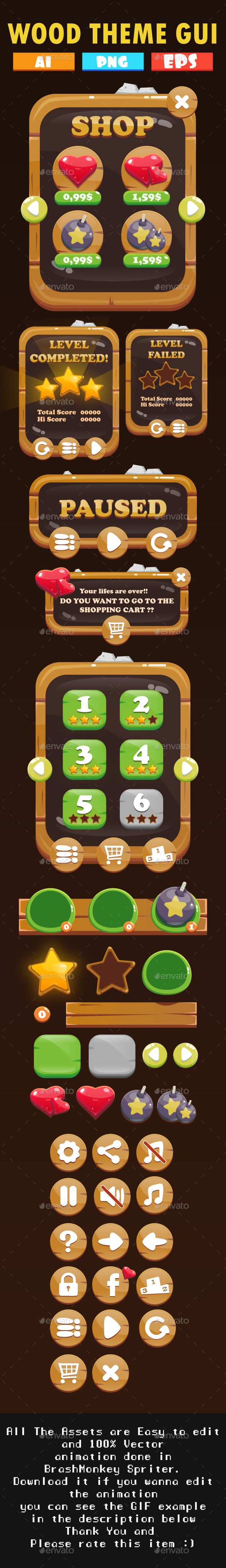 Wood Platformer GUI Pack - Transparent PNG, Layered PNG, Vector EPS, AI Illustrator #gameui
