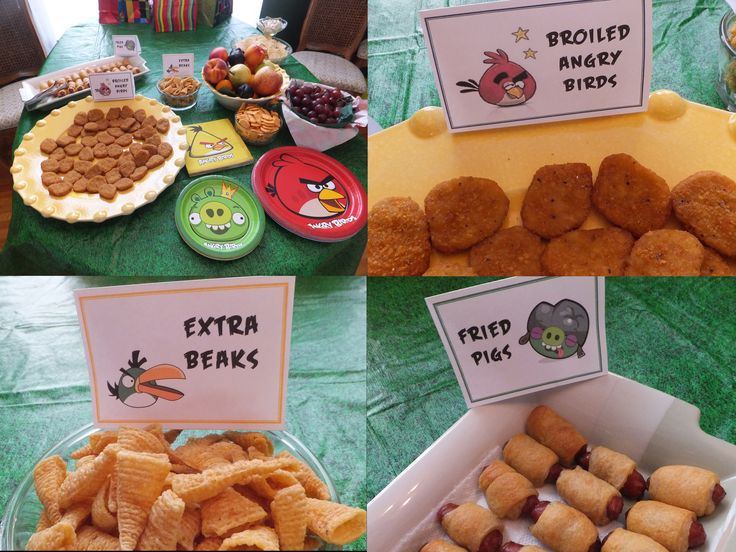 Angry Birds Birthday Party - some food ideas: chicken nuggets, Bugles, and pigs-in-blankets