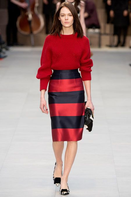 3 trends in 1: Chunky knits with soft fabrics; below the knee skirts and red colour